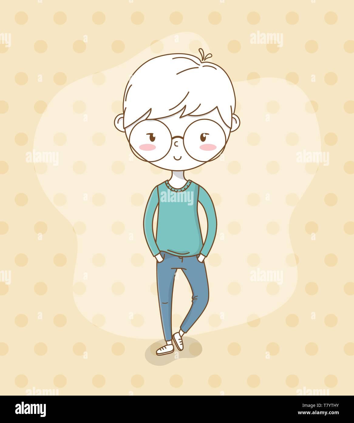 Beautiful little boy with eyeglasses vector illustration design