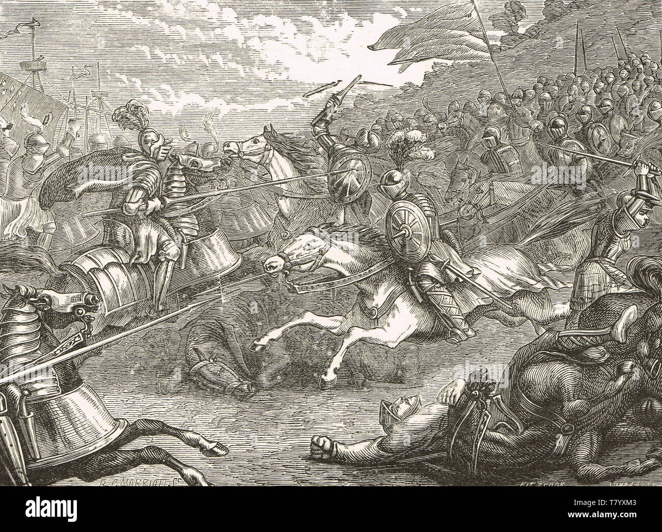 Lord Grey of Wilton leading the cavalry charge at the Battle of Pinkie Cleugh,10 September 1547 - Stock Image
