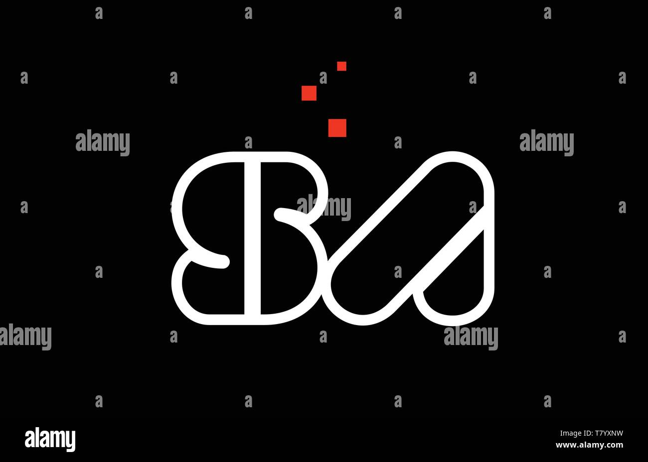 SA S A black white red dots alphabet letter combination suitable as a logo icon design for a company or business - Stock Vector