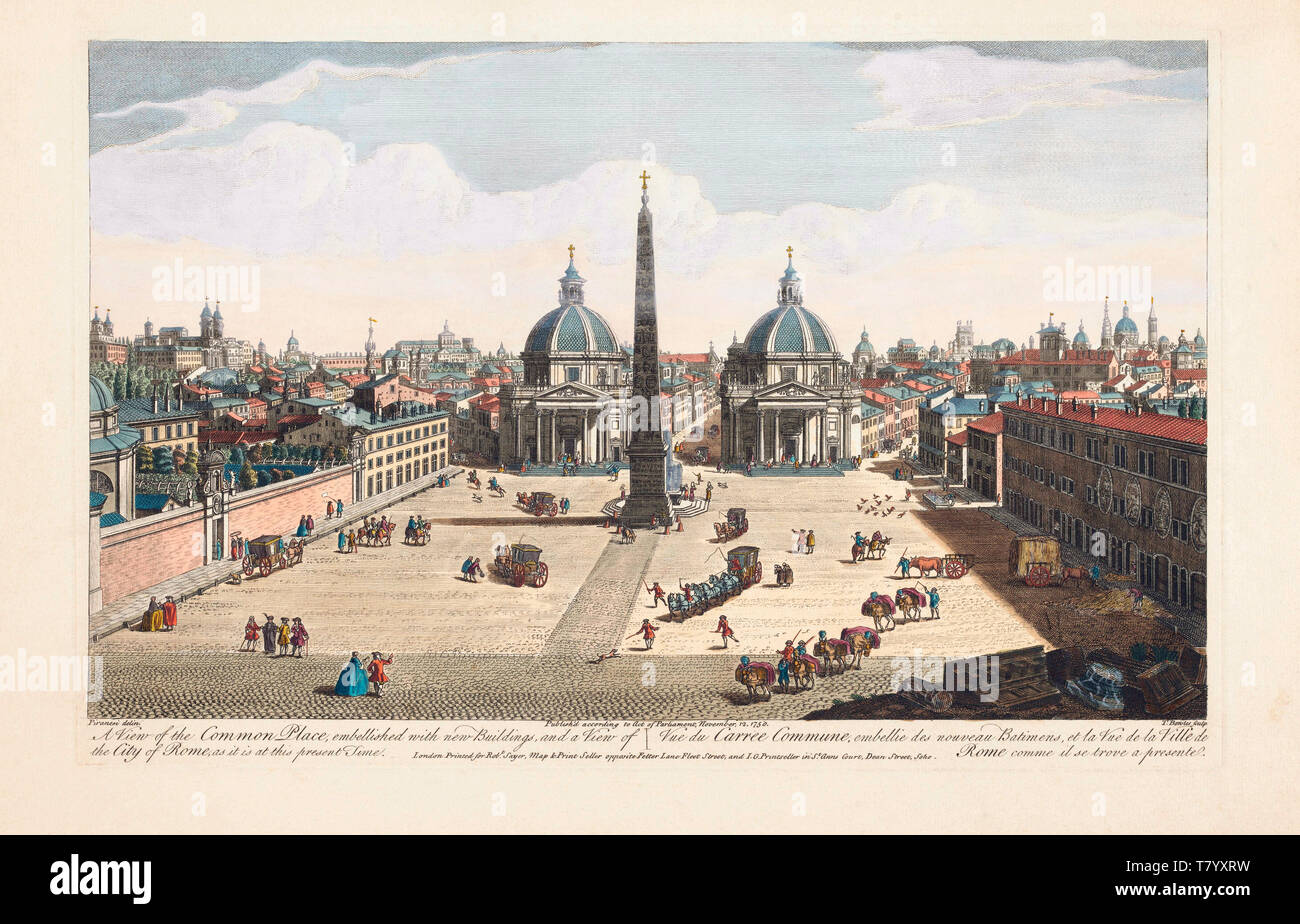 A view of the Common Place, embellished with new buildings, and a view of the city of Rome, as it is at this present time.  Piazza del Popolo, Rome, Italy.  After an engraving dated 1750 by Thomas Bowles from a work by Giovanni Battista Piranesi.  Later colourization. - Stock Image