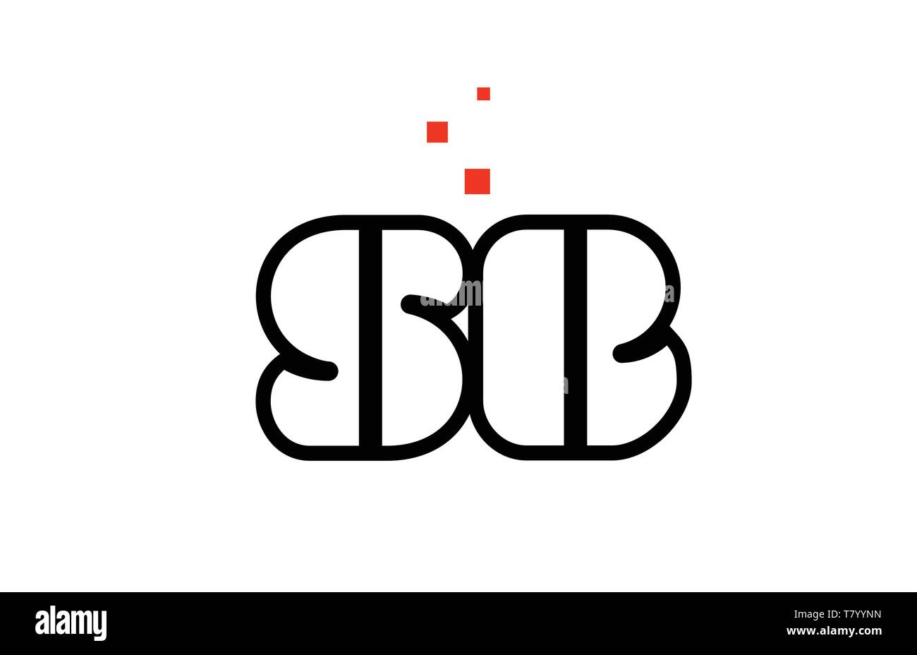 SB S B black white red dots alphabet letter combination