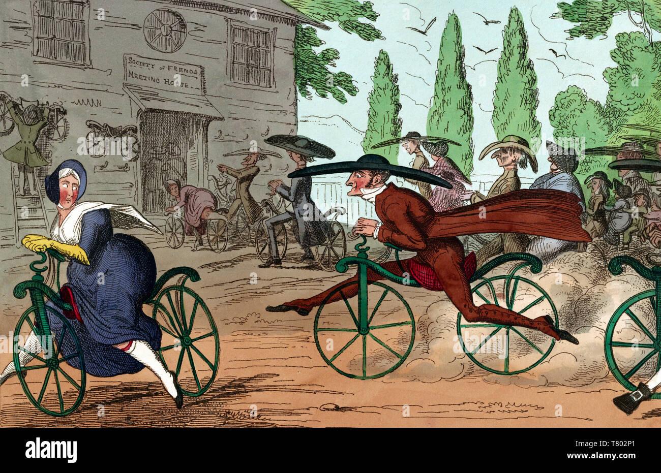 Quakers Riding Dandy Horses, 1819 - Stock Image