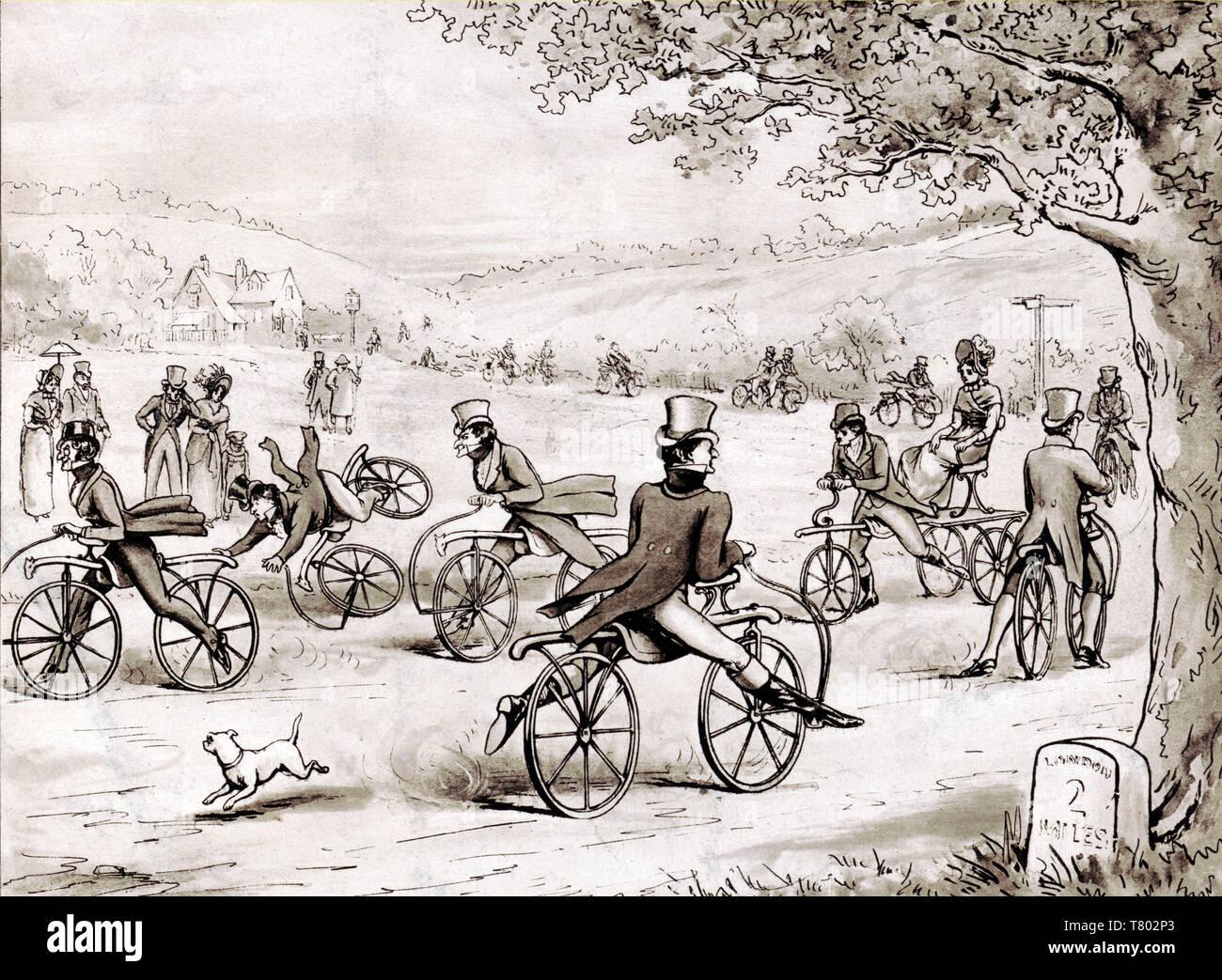 Dandies Riding Velocipedes, 1819 - Stock Image