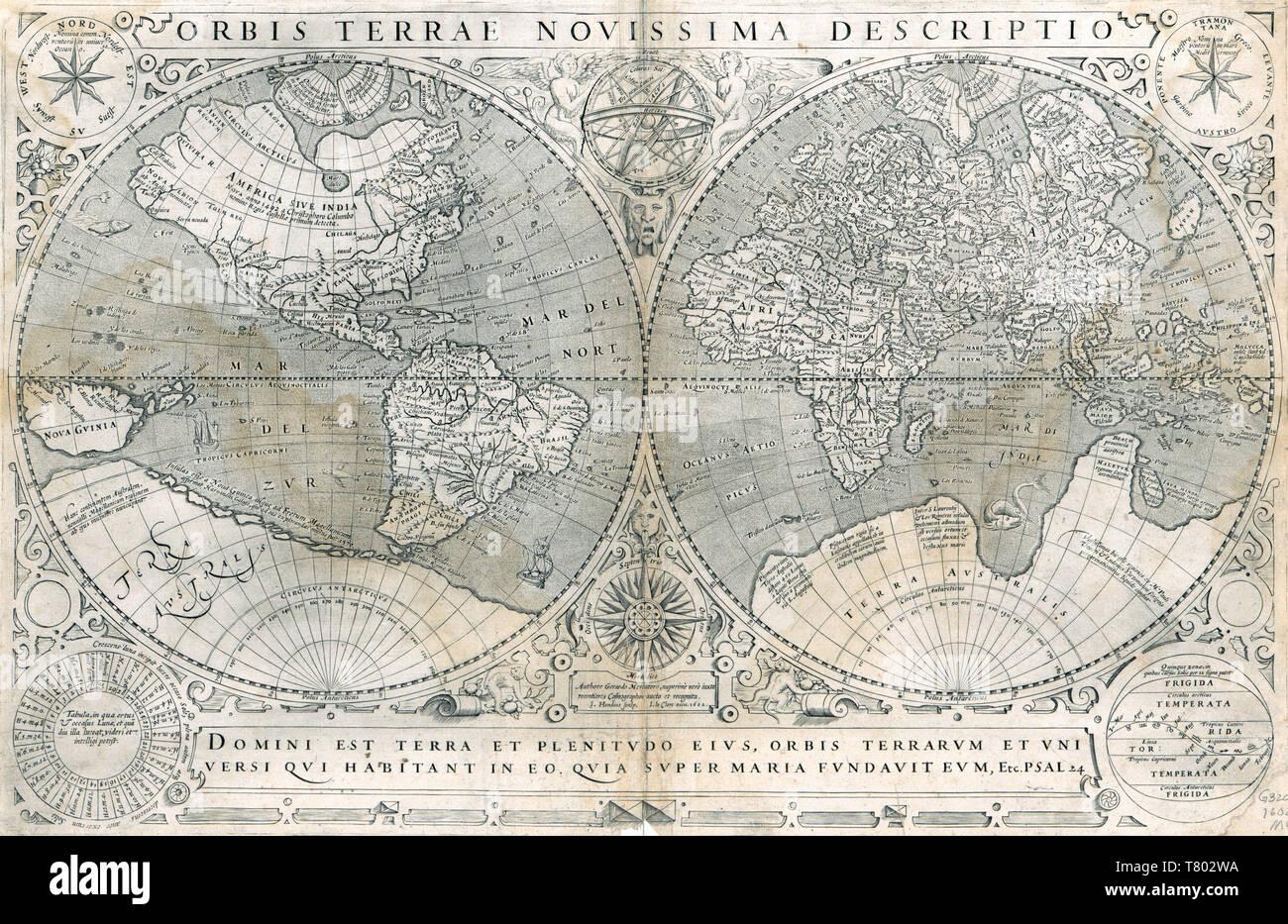 Gerardus Mercator, World Map, 1602 - Stock Image