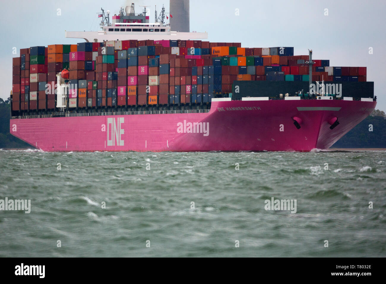 large,import,services,shipping,agent,port,harbour,master,launch,escort,pilot,Container,Ship,Southampton,Terminal,The Solent,China,Europe,import,trade, Stock Photo