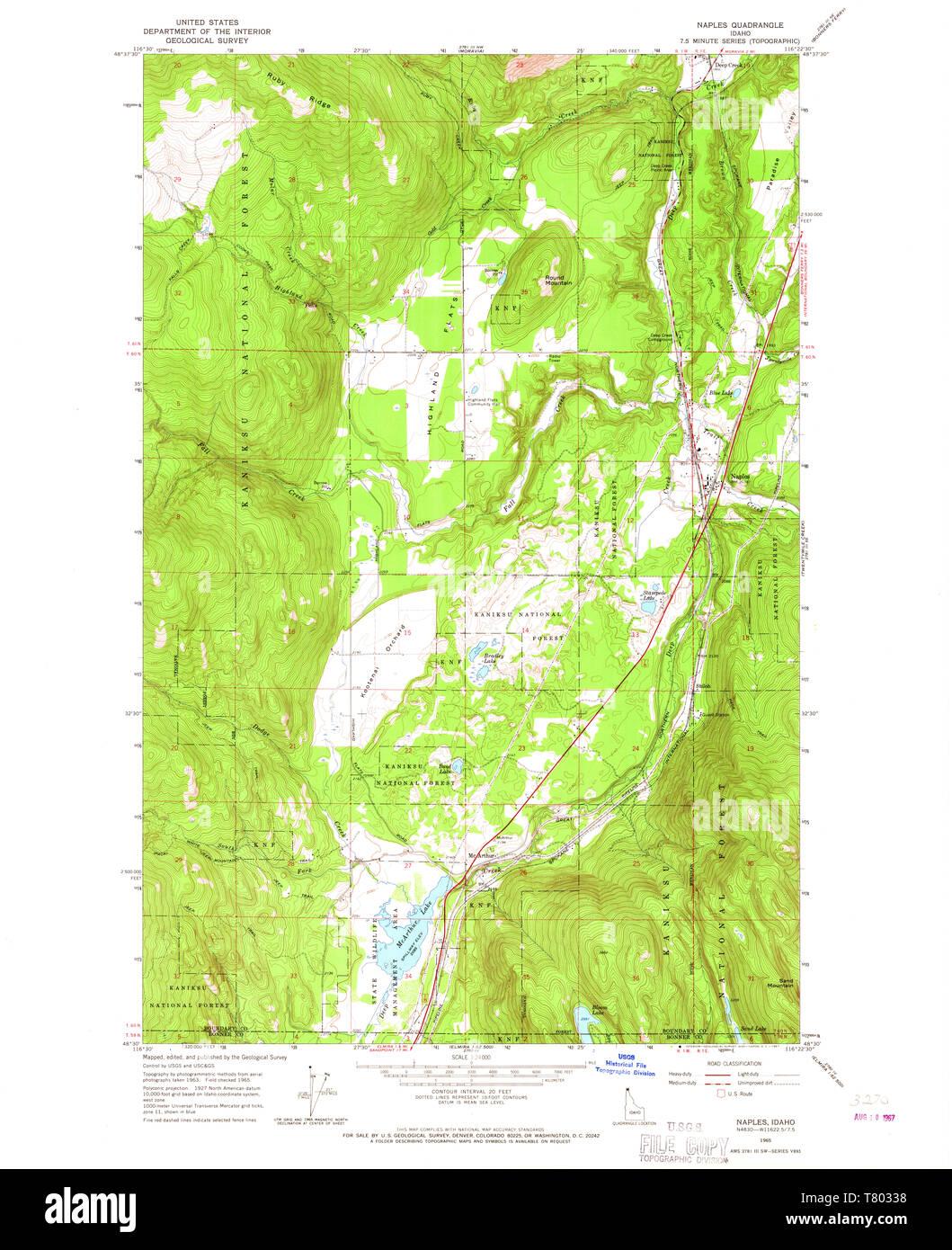 USGS TOPO Map Idaho ID Naples 237373 1965 24000 Restoration ...