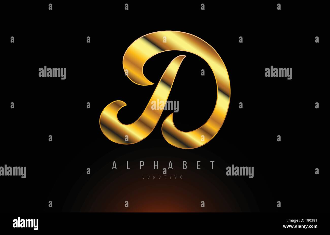 Gold Golden Letter D Logo Design With Metal Look Suitable