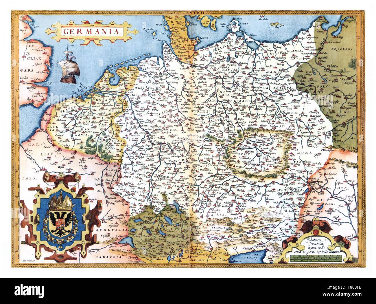 Theatrum Orbis Terrarum, Germany, 1570 - Stock Image