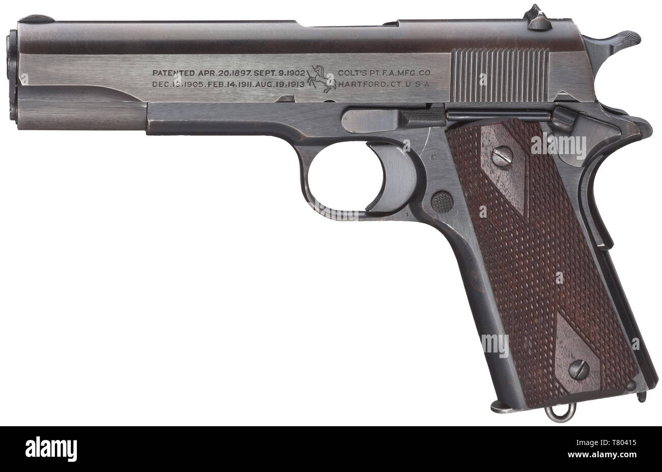 A Colt mod. 1911, cal..45 ACP, no. 617519. Bright bore. Manufactured in 1919. On left side of slide two-line corporate name and patent data, on the right 'MODEL OF 1911.U.S.ARMY', on frame marked 'United States Property'. Inspector's mark 'Eagle's Head S16', barrel marked 'HP'. Complete, original, somewhat thin blue-black finish, minimally spotted on grip. Flawless dark walnut grip panels. Correct magazine hardened in upper third. Rare collectors' item without any different stamps in original and almost mint condition. Erwerbsscheinpflichtig. his, Additional-Rights-Clearance-Info-Not-Available - Stock Image