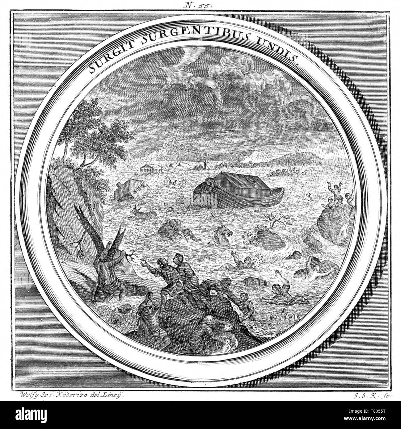 Noah's Ark, The Great Flood, 1709 Stock Photo