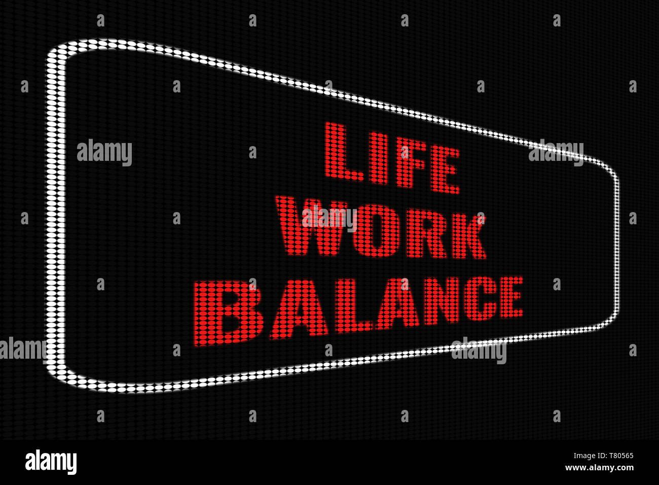 Life Work Balance red text on dark screen, tv effect. - Stock Image
