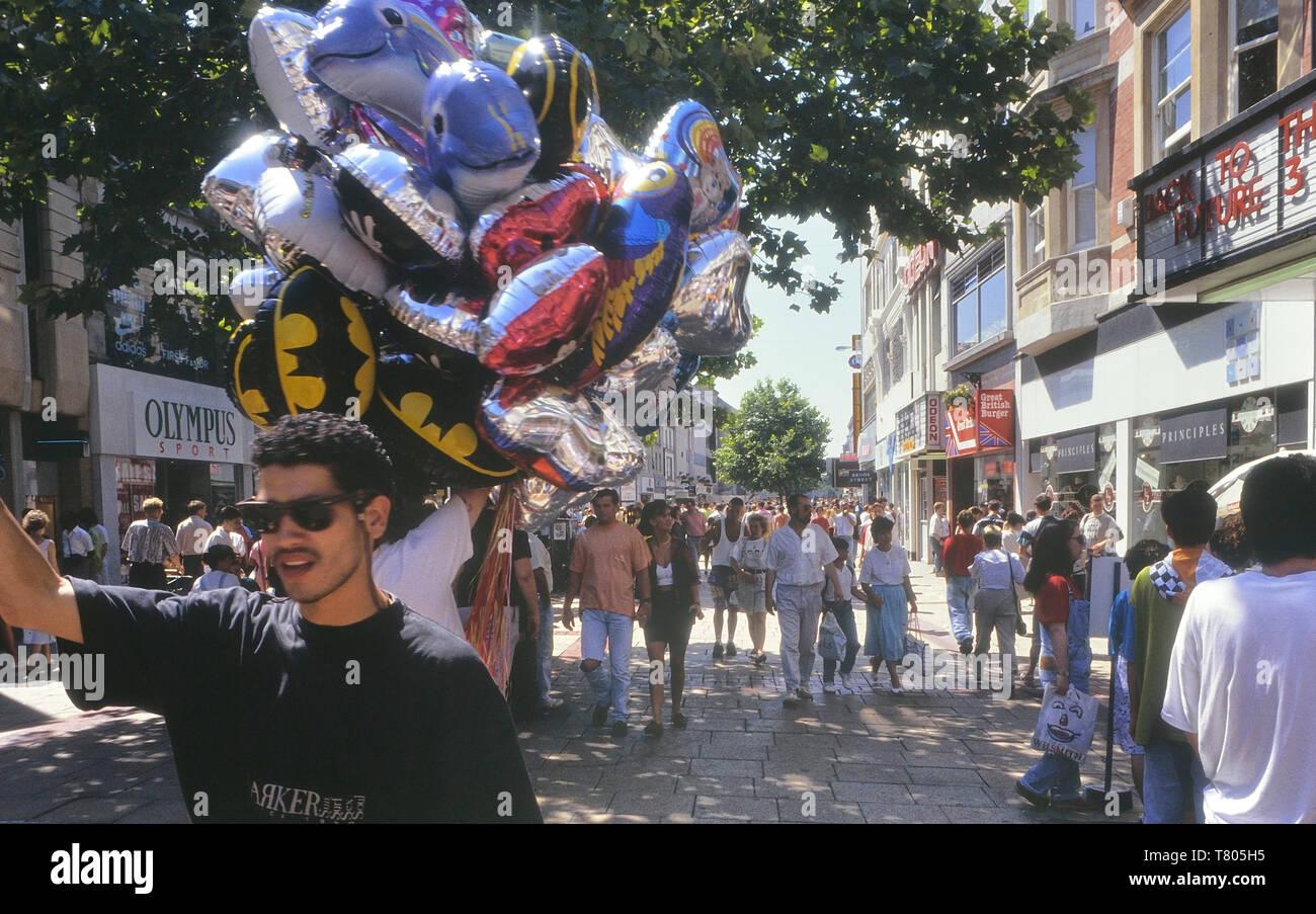 Balloon seller, Queens Street, Cardiff, Wales. Cymru. Circa 1980's Stock Photo