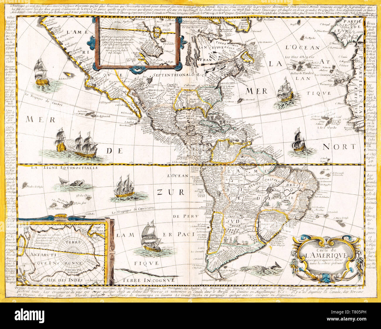 Nicolas Berey, The Americas Map, 1661 Stock Photo