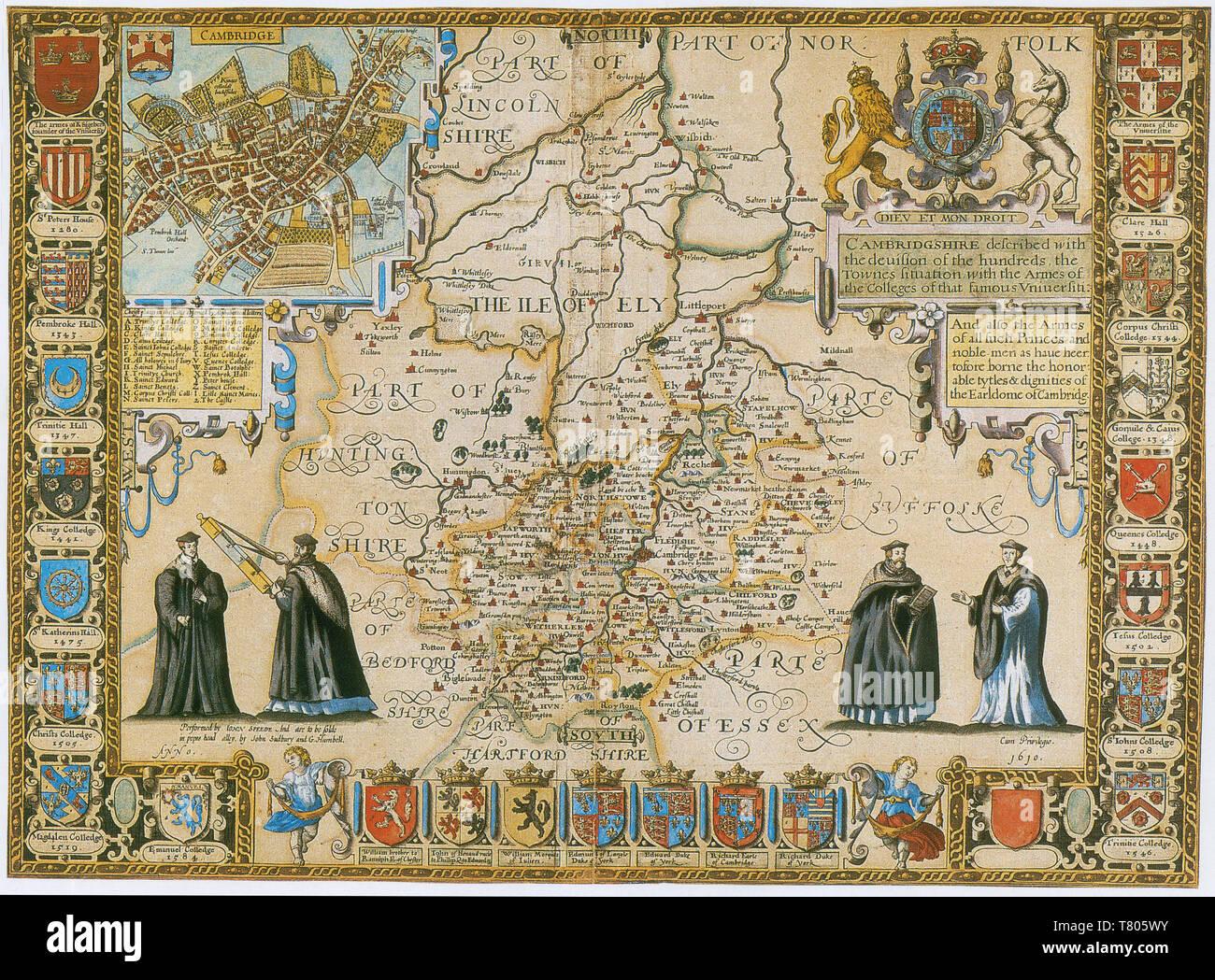 John Speed, Cambridge Map, 1611 - Stock Image