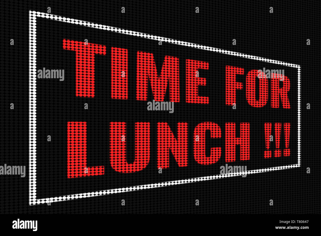 Time For Lunch red text on dark screen, tv effect. - Stock Image