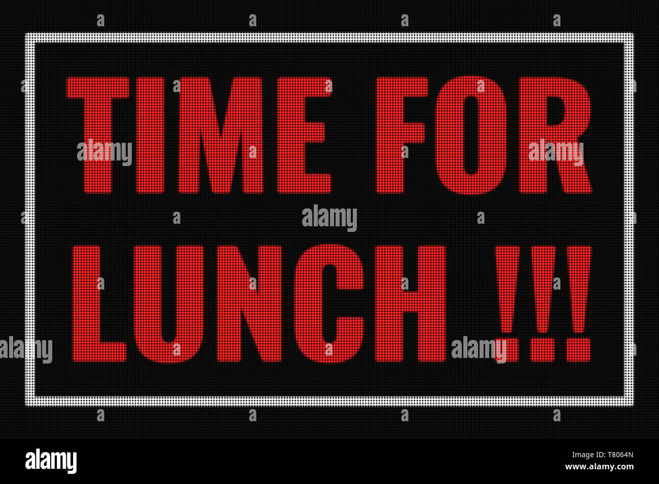 Time For Lunch text on dark screen, tv effect. - Stock Image