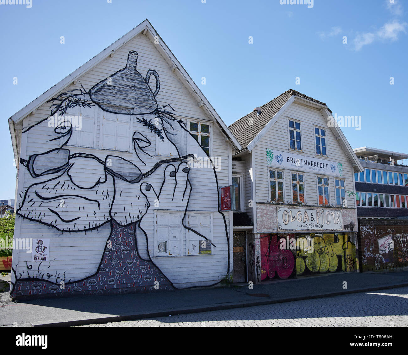 A wonderful way to discover the city of Stavanger, as you hunt down urban art in the most unlikely places. Stock Photo