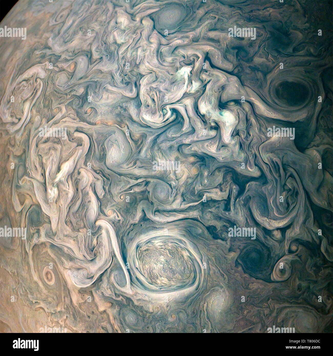 Jupiter's Swirling Clouds, Northern Hemisphere - Stock Image