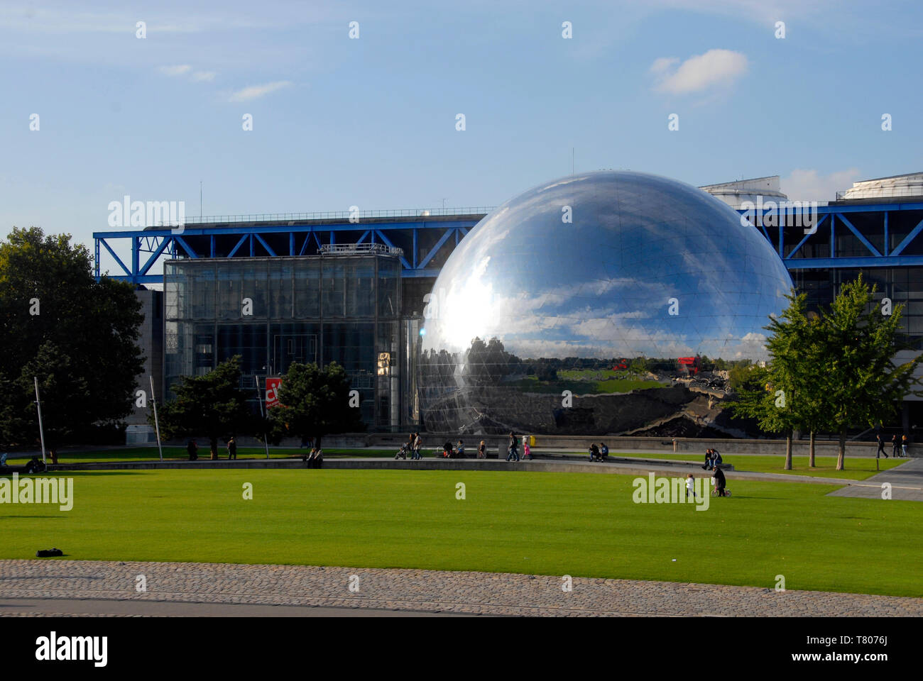 Large geodesic dome near open area, Paris, France - Stock Image