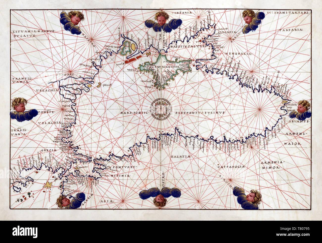 Battista Agnese, Portolan Atlas, Black Sea, 1544 - Stock Image