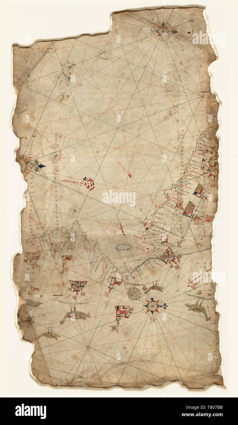 Portolan Chart, Pacific Coast, 1565 Stock Photo