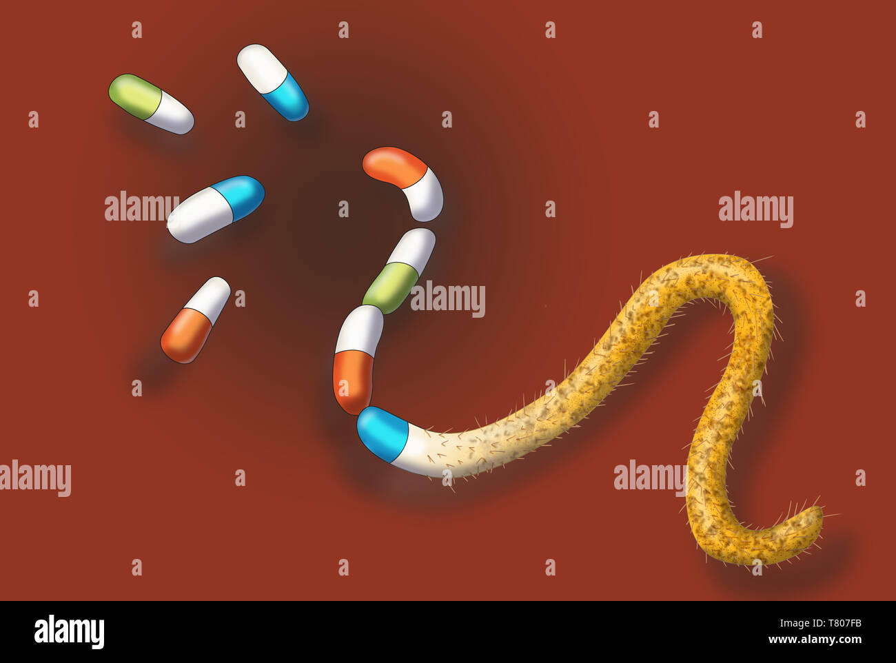 Antibiotic Resistant Bacteria, Illustration - Stock Image