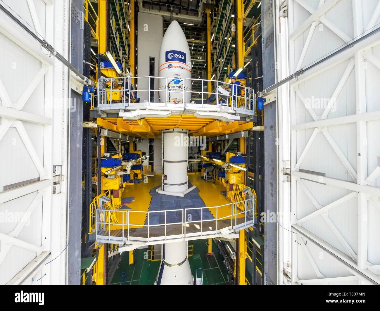 ADM-Aeolus satellite launch preparations Stock Photo