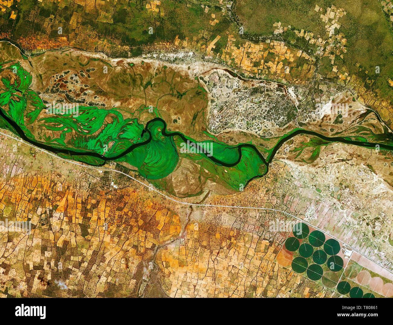 Okavango River, Namibia and Angola, satellite image - Stock Image
