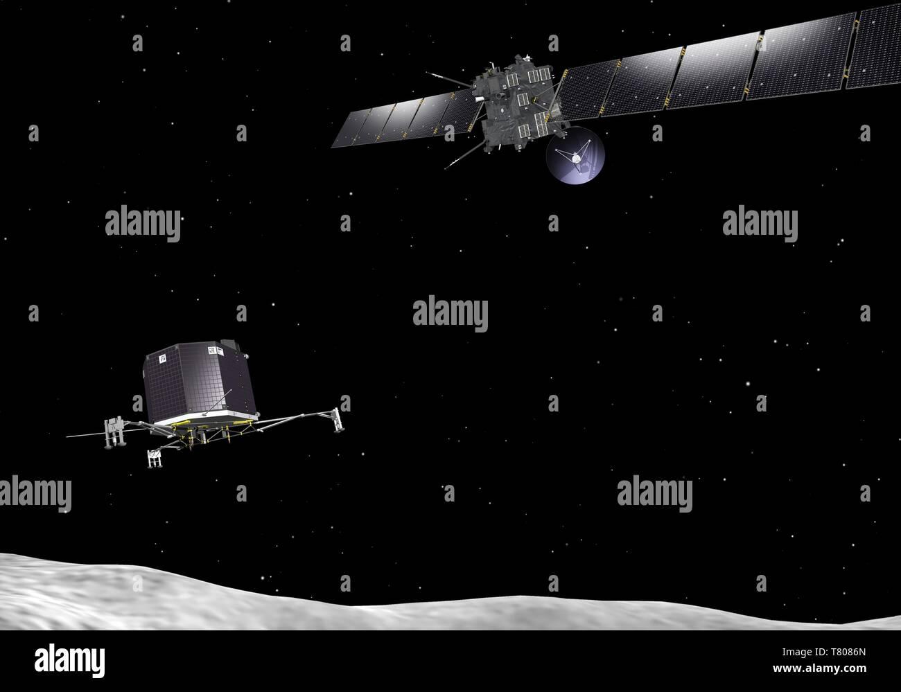 Rosetta spacecraft and Philae lander, artwork - Stock Image