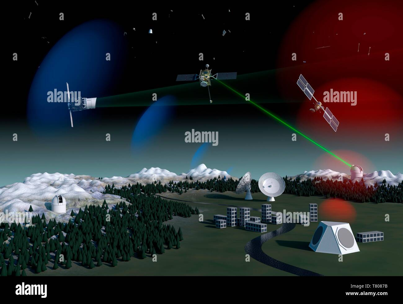 Space debris surveillance system, artwork - Stock Image