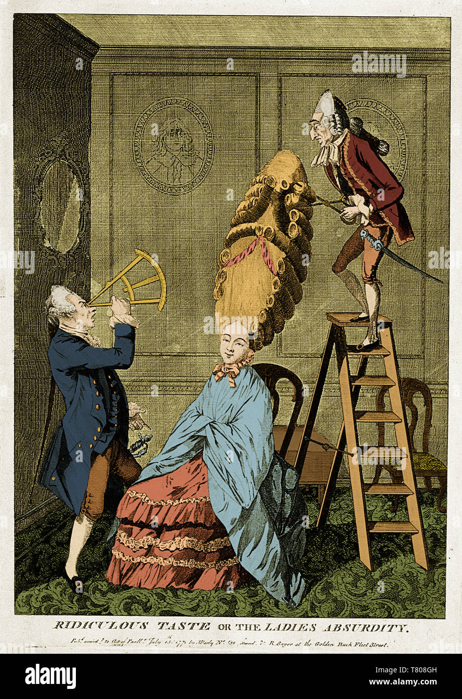 Man Using Sextant on Woman's Coiffure, 1771 - Stock Image