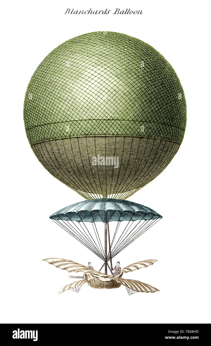 Blanchard's Balloon, Illustration - Stock Image
