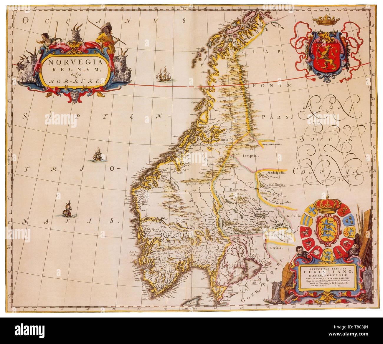 Joan Blaeu, Norway Map, 17th Century - Stock Image