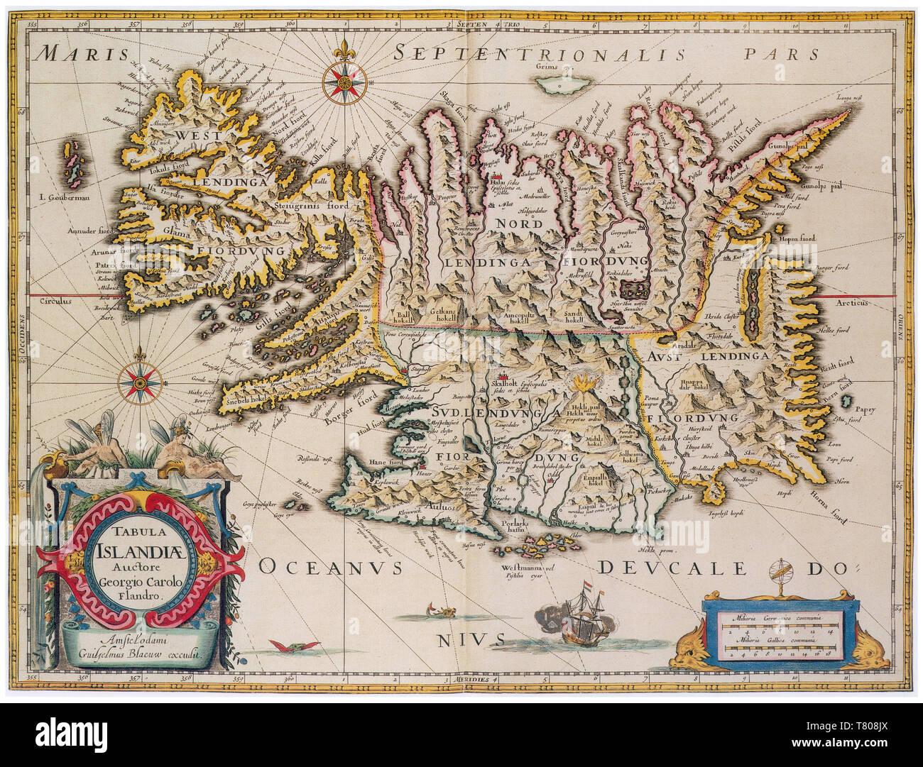 Joan Blaeu, Iceland Map, 17th Century - Stock Image