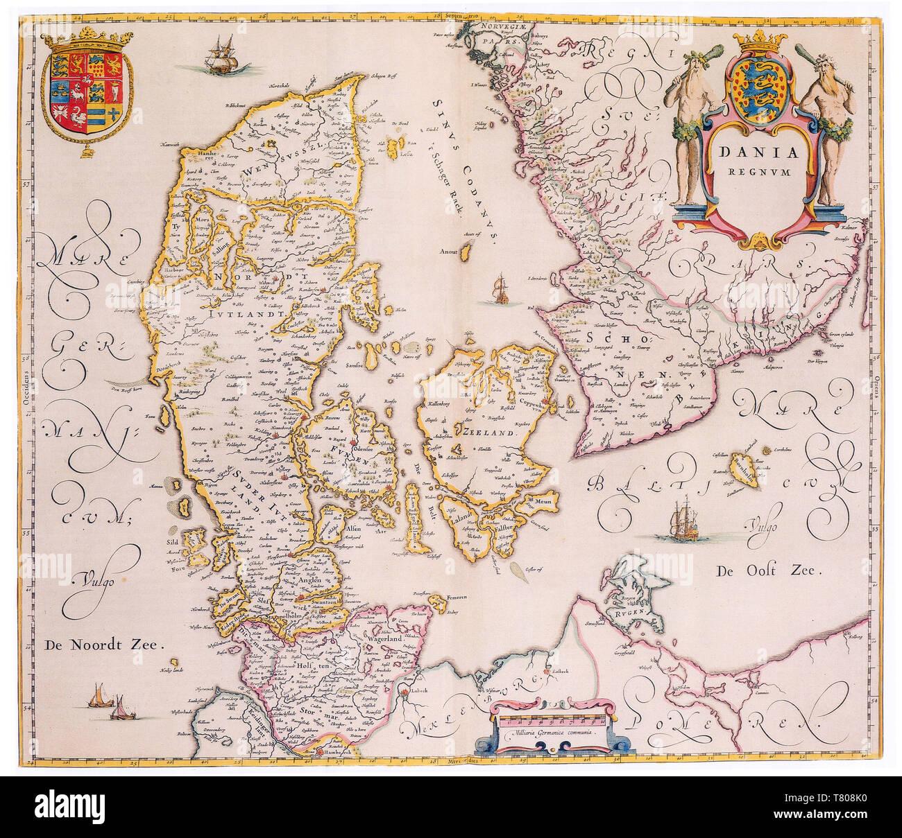 Joan Blaeu, Denmark Map, 17th Century - Stock Image