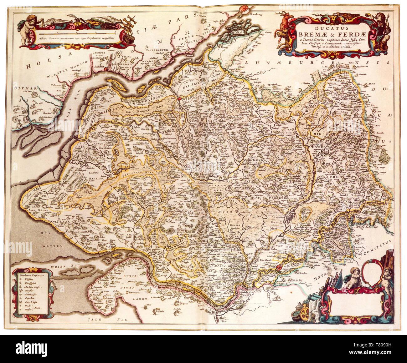 Joan Blaeu, Duchies of Bremen-Verden Map, 17th Century - Stock Image