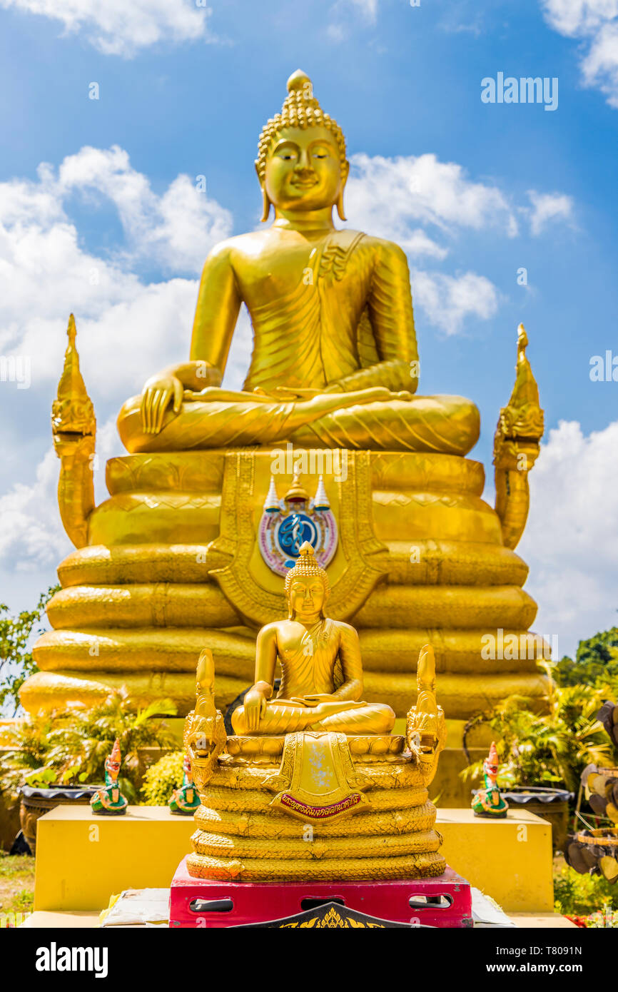 The Golden Buddha statue at the Big Buddha complex (The Great Buddha) in Phuket, Thailand, Southeast Asia, Asia Stock Photo