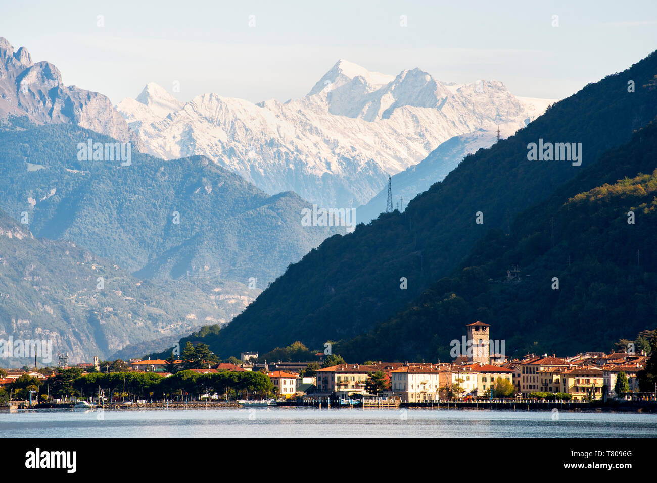 Pisogne and Mount Adamello, Iseo Lake, Brescia Province, Lombardy, Italy, Europe - Stock Image