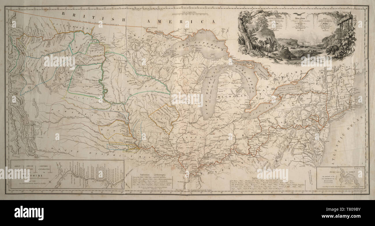 Missouri River Expedition Map, 1830s - Stock Image