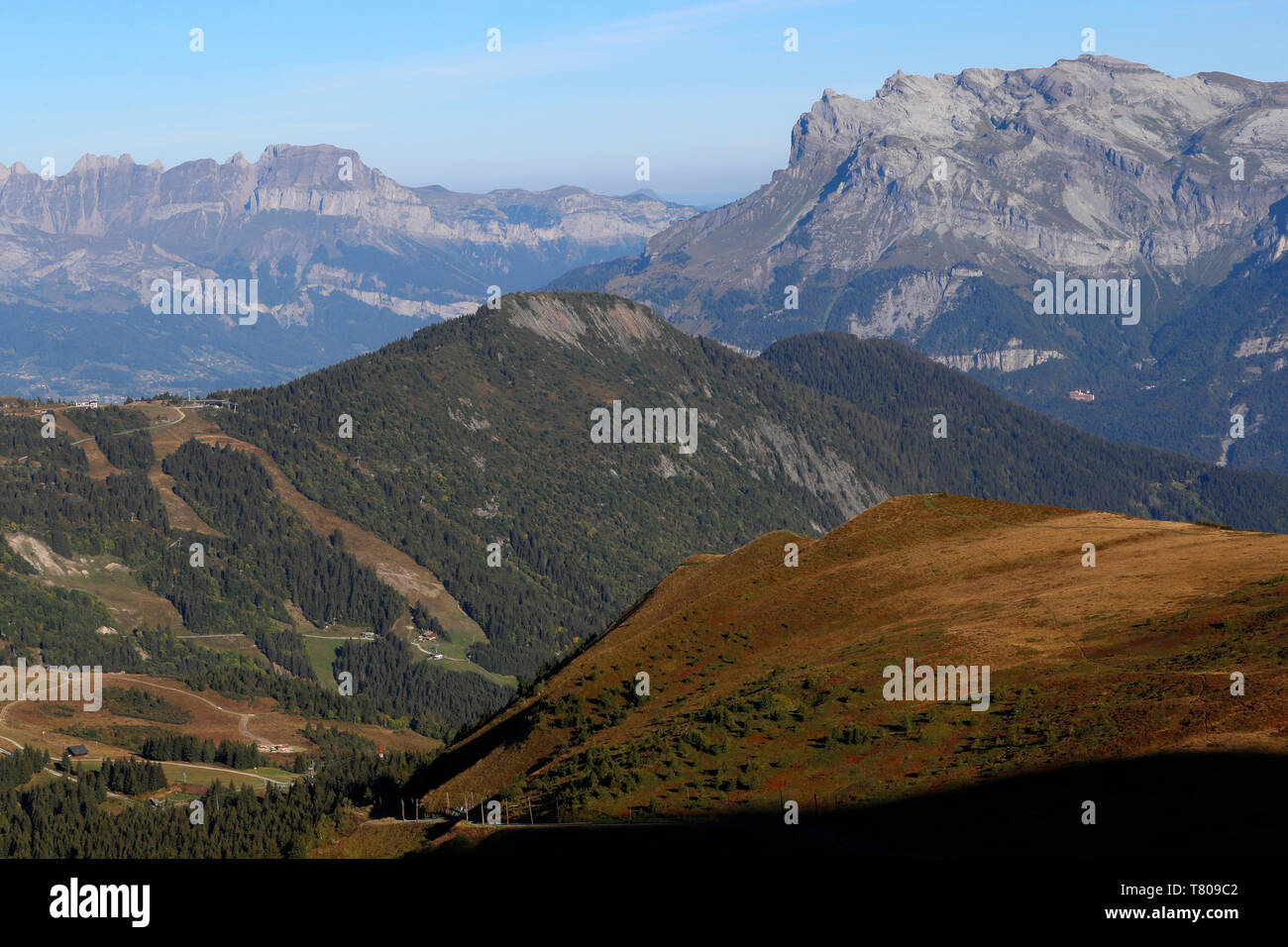 Landscape of the French Alps in summer, Aravis and Fiz