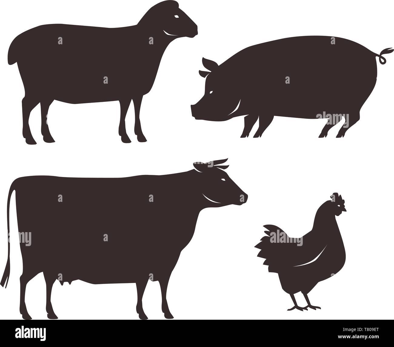 Farm animals set. Farming, silhouette vector illustration - Stock Image