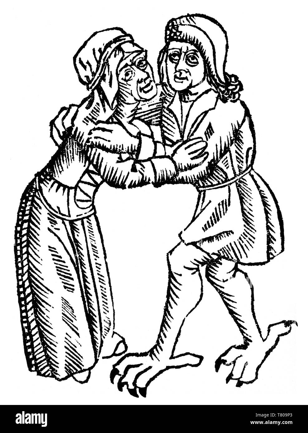 Witch Embraces Claw-footed Devil, 1489 - Stock Image
