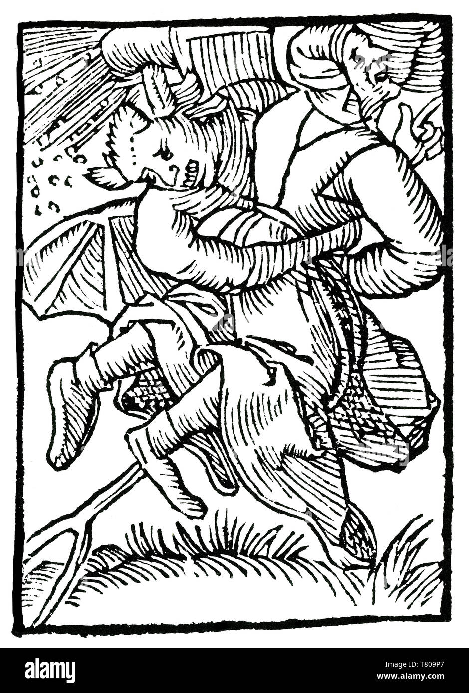 Satan and Witch Riding Pitchfork, 1489 - Stock Image