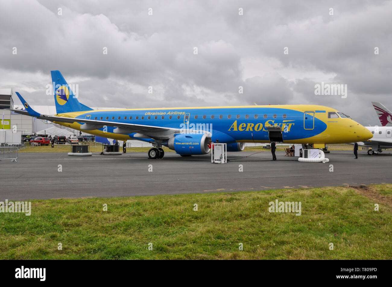 Aero Svit Ukrainian Airlines Embraer 190 jet airliner plane at Farnborough International Airshow trade show. Industry show. Space for copy - Stock Image