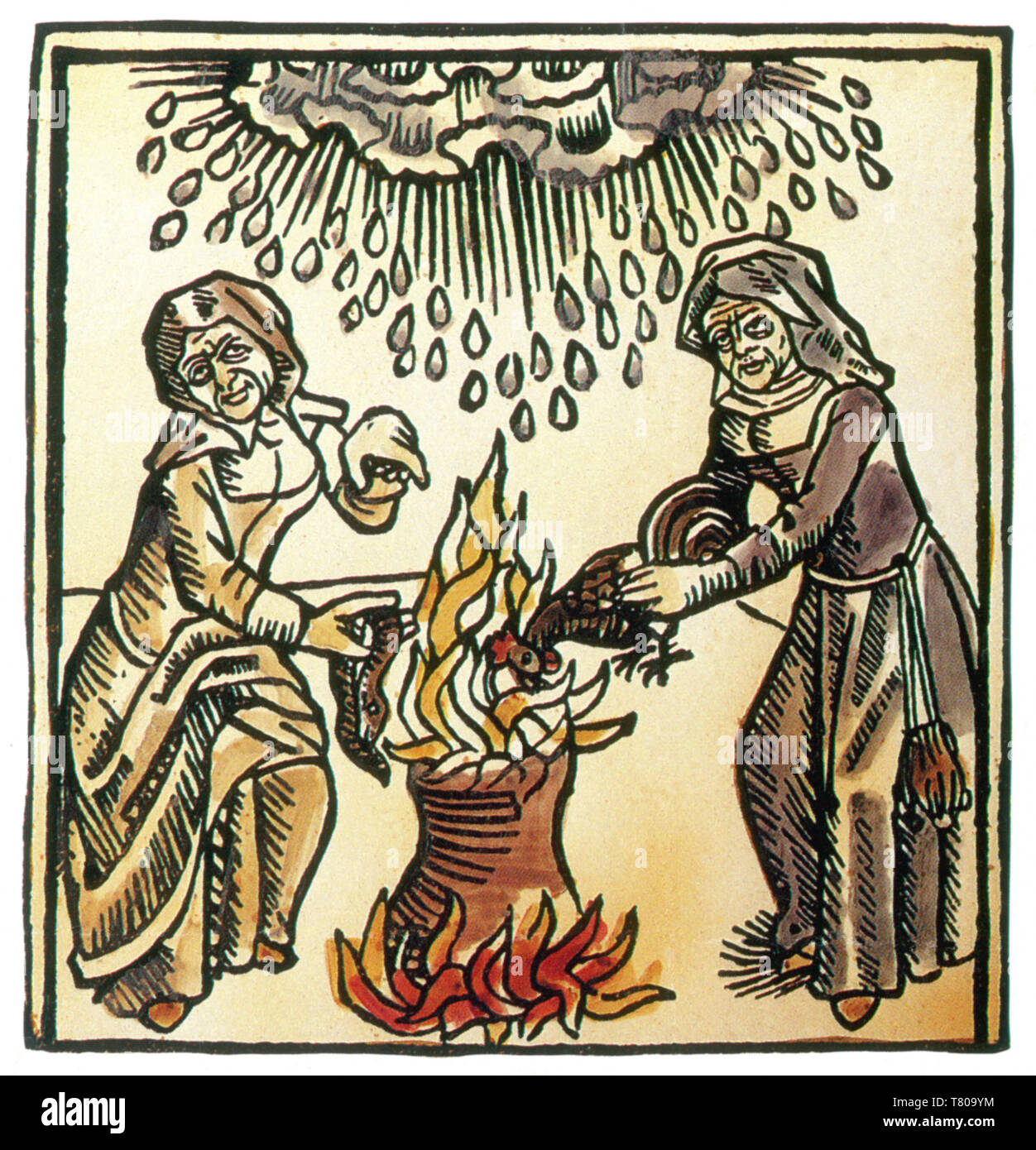 Witches Casting Rain Spell, 1489 - Stock Image