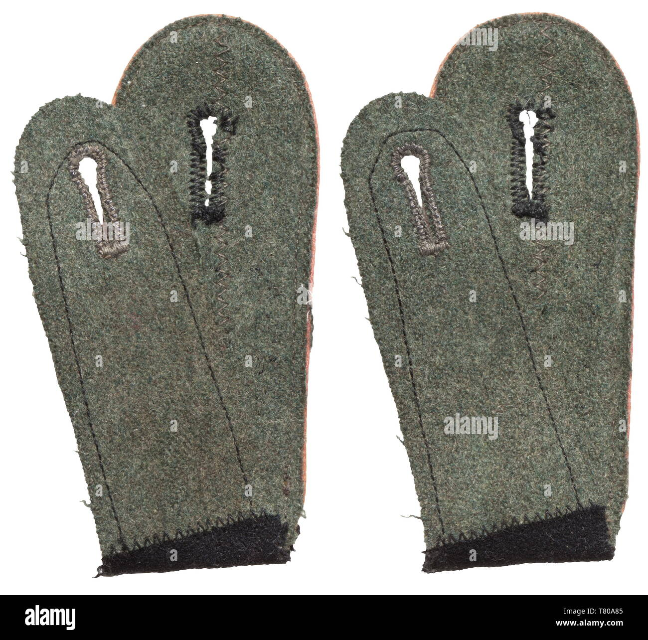 "A pair of shoulder boards for enlisted men of the Panzer troops in the 1st SS Panzer-Division ""Leibstandarte-SS Adolf Hitler"". Looped issue of black wool cloth with stitched-on machine-embroidered LAH logo (from slip-on straps?) and pink piping. Obviously used, with moth traces in the field-grey liner. historic, historical, 20th century, 1930s, 1940s, secret service, security service, secret services, security services, police, armed service, armed services, NS, National Socialism, Nazism, Third Reich, German Reich, Germany, utensil, piece of equipment, utensils, object, ob, Editorial-Use-Only Stock Photo"