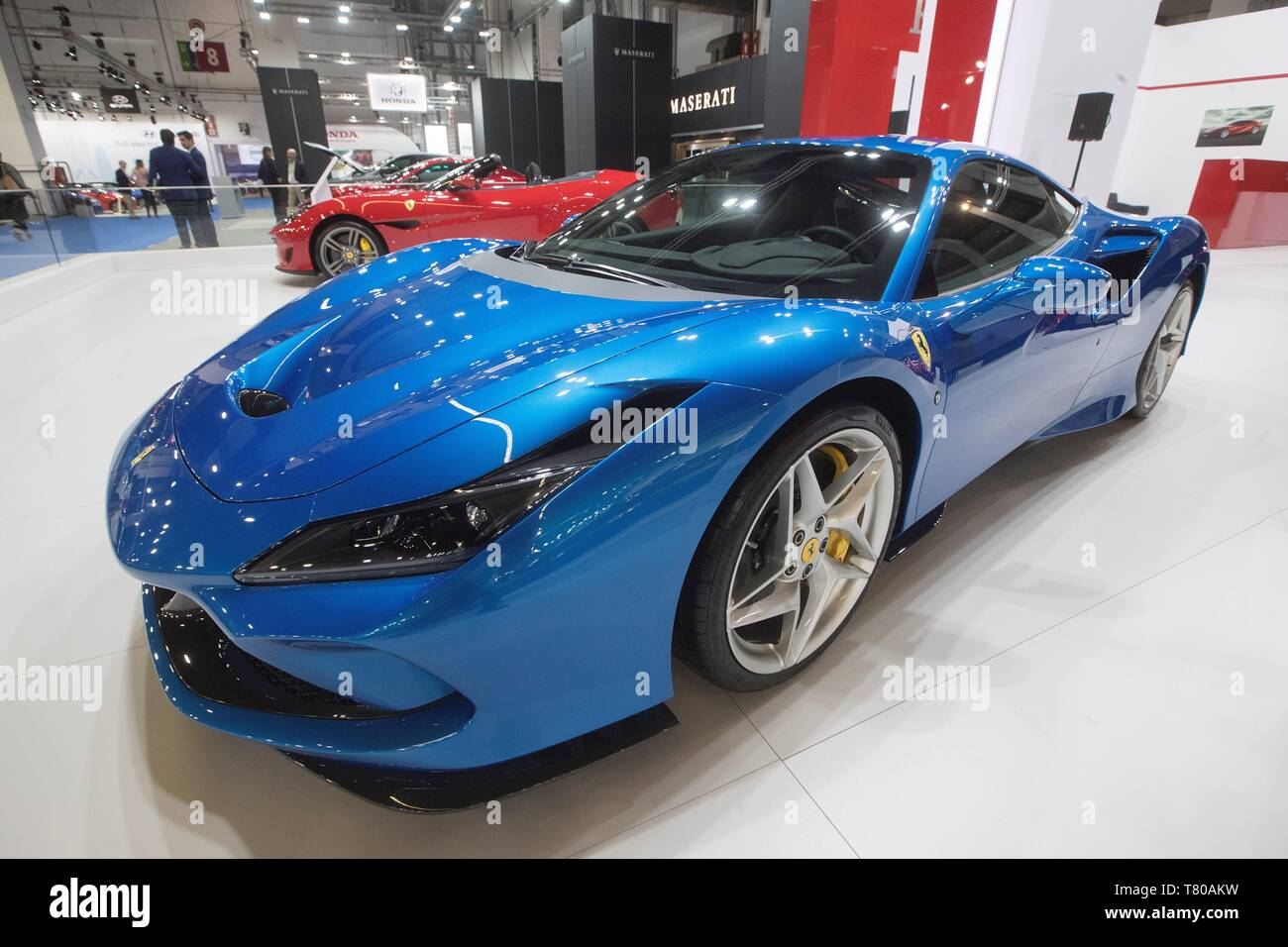Model F8 Tributo of Ferrari is shown during the press and professionals day of the 100th Automobile Barcelona Fair, in Barcelona, Spain, 09 may 2019. The International Motor Show will celebrate its centenary edition from 11 to 19 May 2019. EFE/Marta Perez - Stock Image