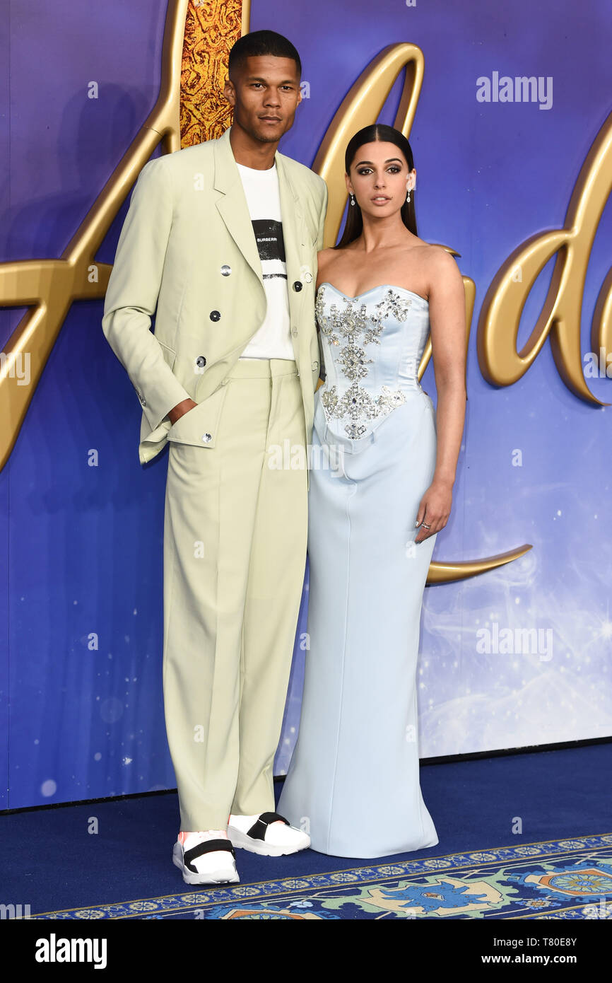 """London, UK. 09th May, 2019. LONDON, UK. May 09, 2019: Jordan Spence & Naomi Scott at the """"Aladdin"""" premiere at the Odeon Luxe, Leicester Square, London. Picture: Steve Vas/Featureflash Credit: Paul Smith/Alamy Live News Stock Photo"""