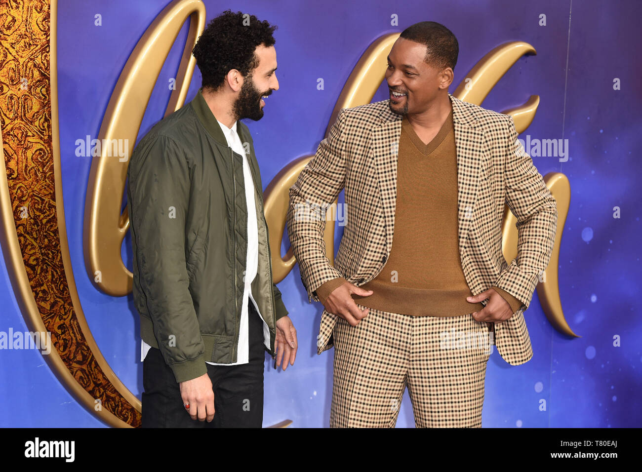 "London, UK. 09th May, 2019. LONDON, UK. May 09, 2019: Marwan Kenzari & Will Smith at the ""Aladdin"" premiere at the Odeon Luxe, Leicester Square, London. Picture: Steve Vas/Featureflash Credit: Paul Smith/Alamy Live News Stock Photo"