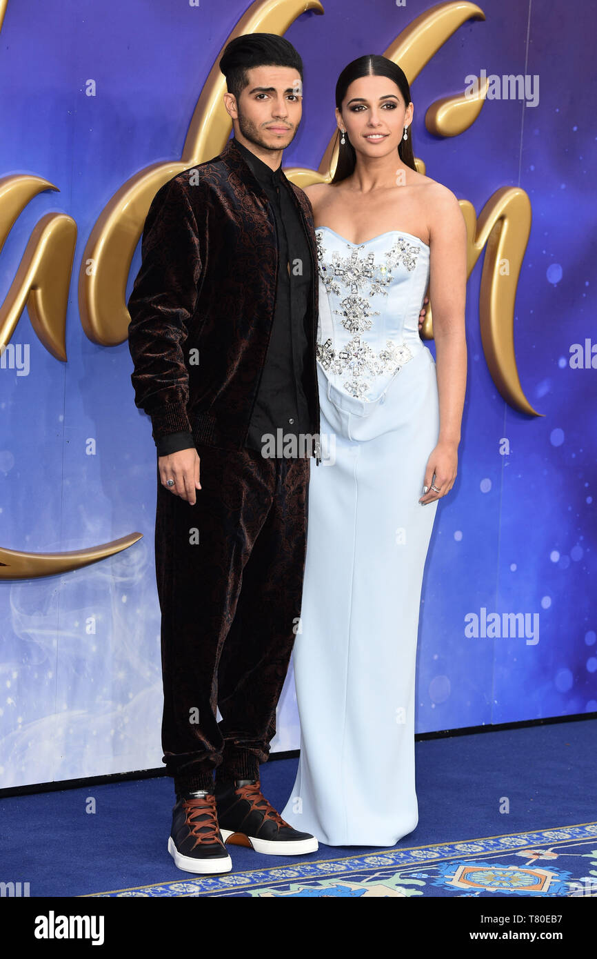 """London, UK. 09th May, 2019. LONDON, UK. May 09, 2019: Mena Massoud & Naomi Scott at the """"Aladdin"""" premiere at the Odeon Luxe, Leicester Square, London. Picture: Steve Vas/Featureflash Credit: Paul Smith/Alamy Live News Stock Photo"""